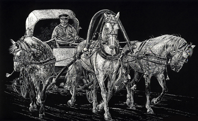 "Horse Carriage (Scratchboard, 16""x10"")"