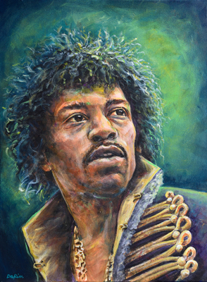 "Jimi Hendrix (Acrylic on Canvas, 18""x24"")"