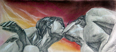 "Kiss (Pastel and 4B pencil, 22""x10"")"