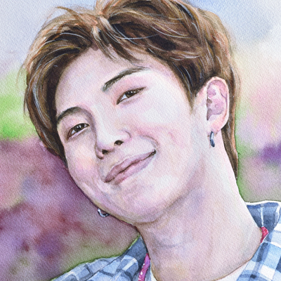 "Kim Namjoon (Watercolor 12""x16"", June 2018)"