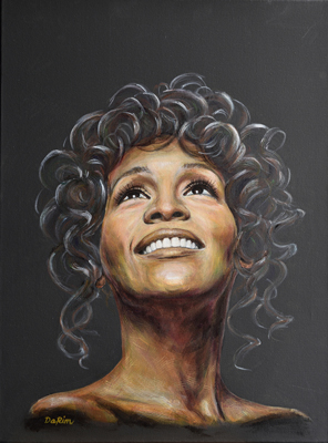 "Whitney Houston (Acrylic on Canvas, 18""x24"")"